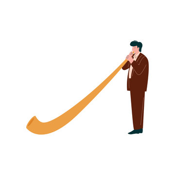 Man Playing Traditional Alpine Horn, Musician Playing Woodwind Instrument Vector Illustration