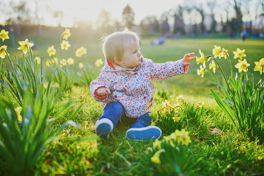 One year old girl sitting on the grass with yellow narcissi