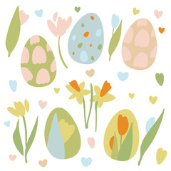 Colorful Easter Eggs Doodle Set Decorations. Spring Flowers. Bright Colors. Great for postcard, fabric, holiday ideas