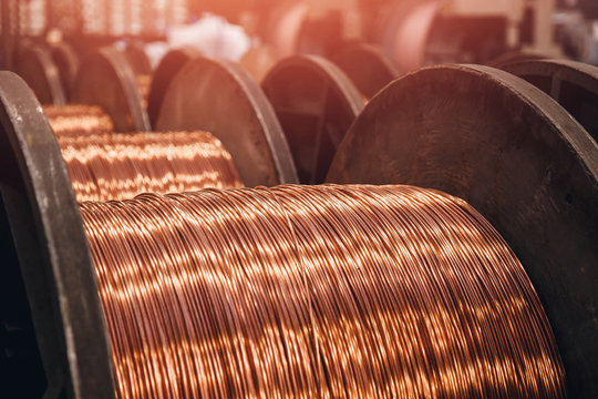 Production of copper wire, bronze cable in reels at factory