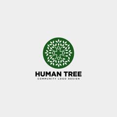 human tree leaf community logo template vector illustration icon element