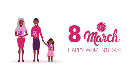 happy three generations women holding flowers international 8 march day celebrating concept african american female cartoon characters full length horizontal greeting card