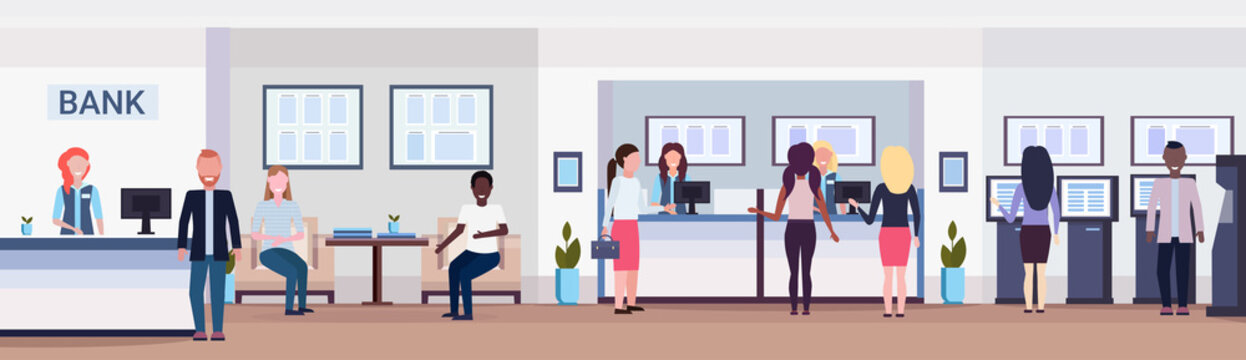 banking visitors and workers financial consulting center with waiting room reception and atm modern bank office interior horizontal banner flat