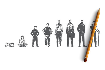Aging, male, boy, man, old, people concept. Hand drawn isolated vector.