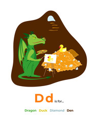Full English alphabet from A to Z, pictures for letter D, the colorful version.
