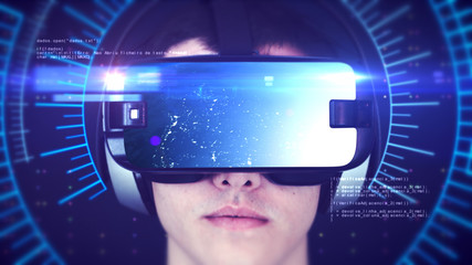 Young man wearing VR headset and experiencing 3D virtual reality. Technology related digital earth network concept. 3D Rendering.