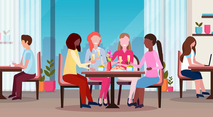 women drinking champagne enjoying food international happy 8 march day holiday concept mix race girls sitting at cafe table modern restaurant interior horizontal flat