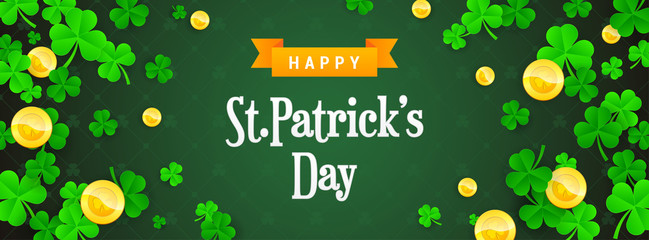 Happy St. Patrick's Day Banner vector illustration. Shamrock frame with golden coins on green pattern background.