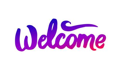 Vector hand drawn illustration of Welcome logo lettering illustration on white background.