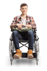 Young male student in a wheelchair smiling aqt the camera