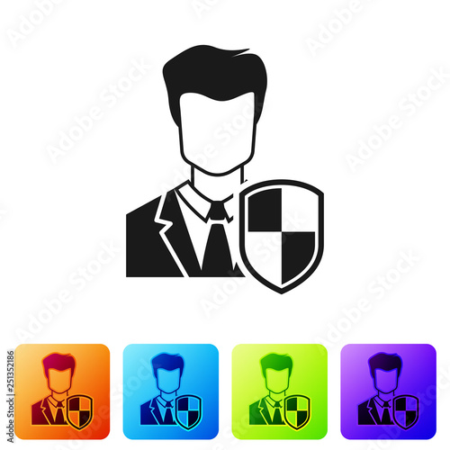 Black User protection icon isolated on white background