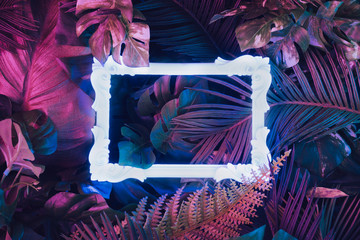 Creative fluorescent color layout made of tropical leaves with neon light vintage frame. Flat lay. Nature concept. Wall mural