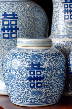 Chinese porcelain vases with the Double Happiness Chinese character