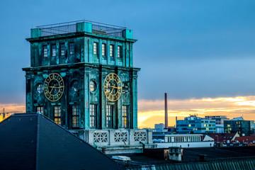tower of munich university in sunset golden hour mood. TU München