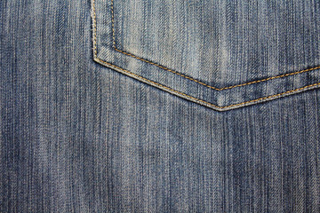 Denim. Old jeans. Back pocket. Close-up. Background. Texture.