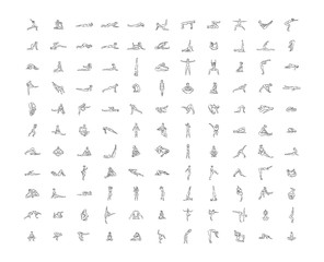 Vector hand drawn illustration of yoga icons illustration on white background.