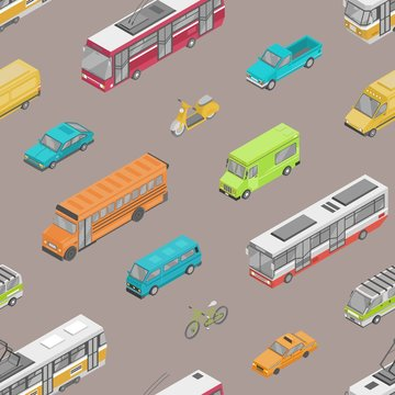 Seamless pattern with urban traffic or automobile transport on city street