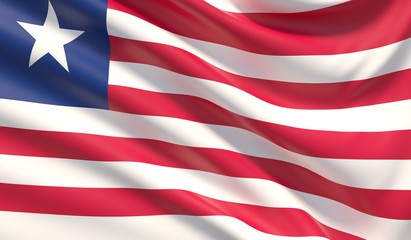 42f7450ac89 Flag of Liberia. Waved highly detailed fabric texture. 3D illustration.