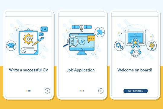 Job searching onboarding mobile app page screen with linear concepts, Write CV, apply job, interview, getting work steps graphic instructions. UX, UI, GUI vector template with line illustrations
