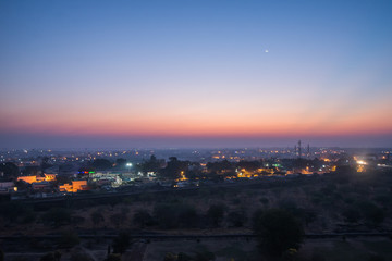 view from above at dawn over indian city