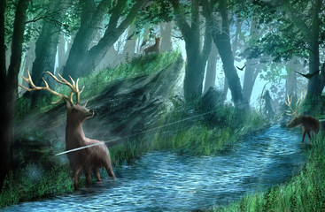 Archer is hunting a deer in the forest. Digital panting.