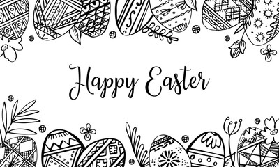 Easter eggs rectangular frame with plants and greeting. Hand drawn outline ink vector sketch illustration. Eggs painted with folk ornaments