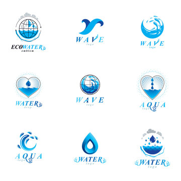 Sea wave splash vector symbol. Water is life theme. Environment protection concept.