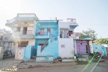 Houses in a poor area of an Indian city