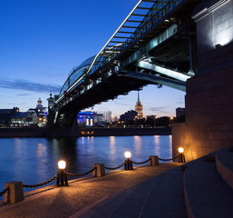 Moscow night cityscape with a bridge. Russia