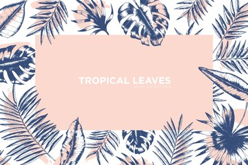 Tropical background decorated by frame made of exotic palm tree branches, Monstera and banana leaves. Hawaiian backdrop with foliage of jungle plants. Monochrome realistic vector illustration.