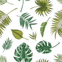 Hawaiian seamless pattern with tropical foliage on white background. Natural backdrop with green leaves of exotic rainforest plants or trees. Summer vector illustration for wrapping paper, wallpaper.