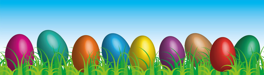 Easter eggs on the grass blue sky background, vector
