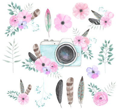 Watercolor camera flower set 51