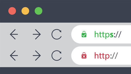 Browser Address Bars Showing Secure and Insecure Web Addresses - Mandatory Secure Browsing and Connections Trend Concept