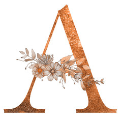 Decorative watercolor letter of the alphabet with flowers and leaves on the white isolated background. Floral elegant design.
