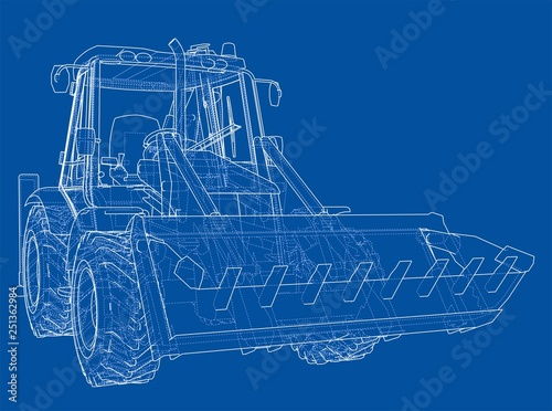 Sketch of Loading Shovel with Back Actor