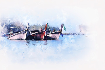 Abstract colorful fishing boat on sea watercolor illustration painting background.