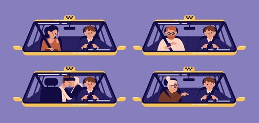 Collection of taxi customers or clients and driver in cab seen through windshield. Bundle of people using automobile service. Set of cute cartoon characters. Flat colorful vector illustration.