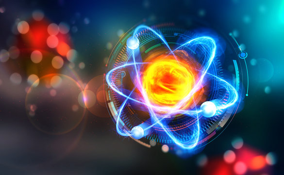 Scientific concept. Genious idea. Breakthrough research. 3D illustration of an atom on the background of HUD display