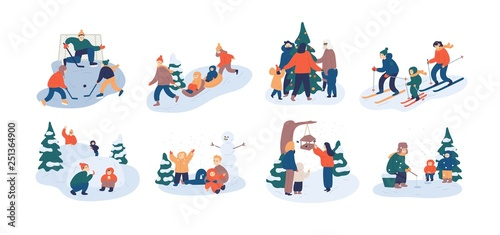 33d43fb0f Set of family winter leisure activities. Mother