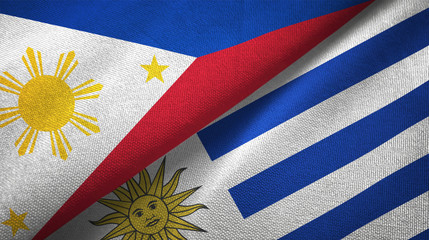 Philippines and Uruguay two flags textile cloth, fabric texture