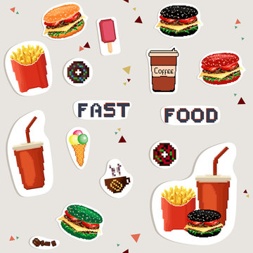 Set stickers of fast food. Colorful hamburgers. Pixel art style.