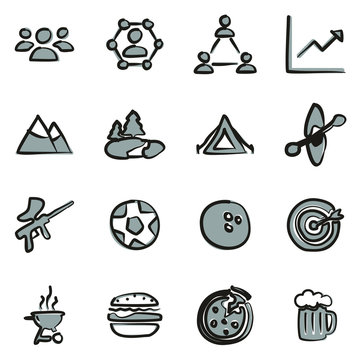 Team Building Icons Freehand 2 Color
