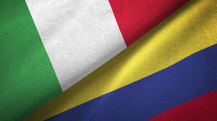 Italy and Colombia two flags textile cloth, fabric texture