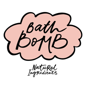 Bath bomb label with handdrawn lettering