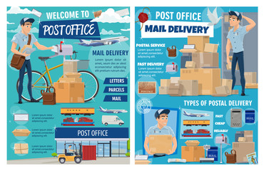 Mail and parcels delivery, post office