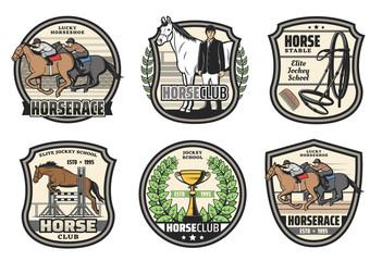 Polo sport club, horse race jockey school icons