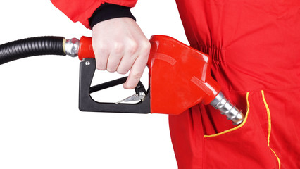 Man gas station staff  is fueling pocket with gasoline pistol pump fuel nozzle