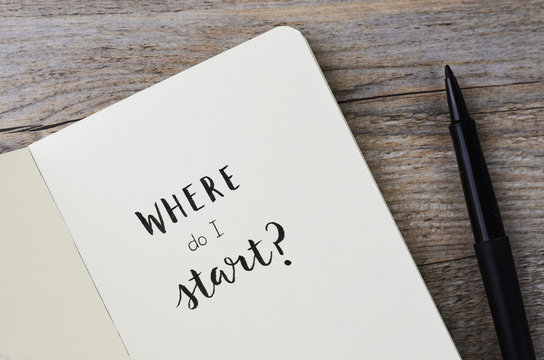 WHERE DO I START? hand lettering in notebook with pen on wooden background