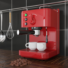 Closeup Red Espresso Coffee Making Machine in front of Black Tile Wall. 3d Rendering